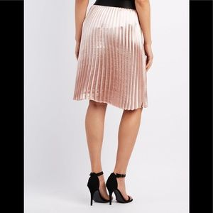 Charlotte Russ Blush Pink pleated midi skirt M
